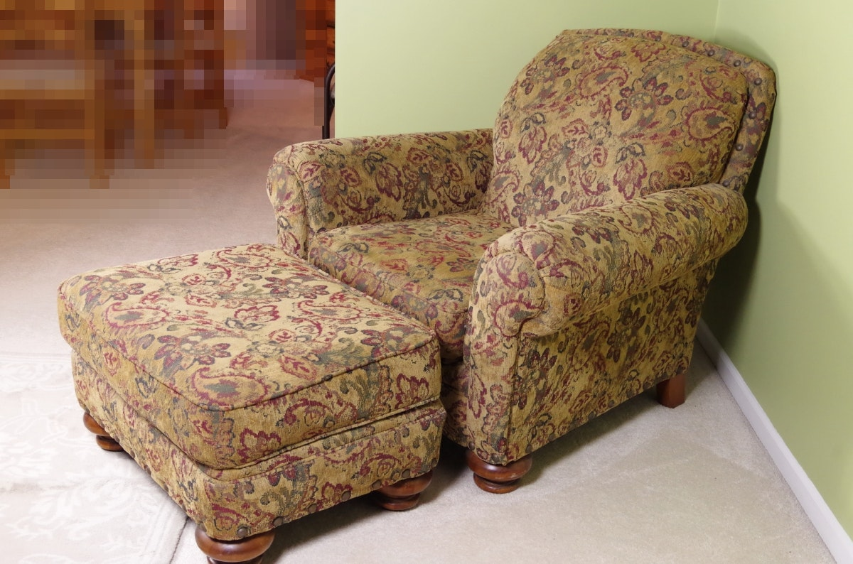 Broyhill Overstuffed Upholstered Chair And Ottoman ...