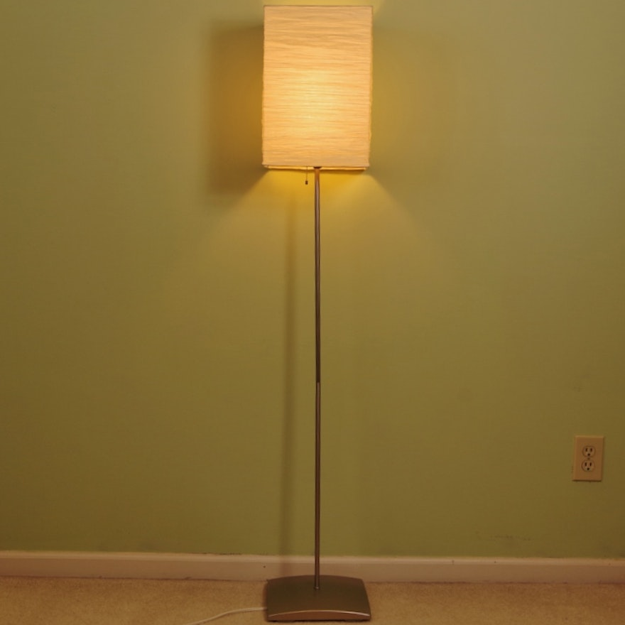 Ikea Orgel Stainless Floor Lamp With Paper Box Shade Ebth