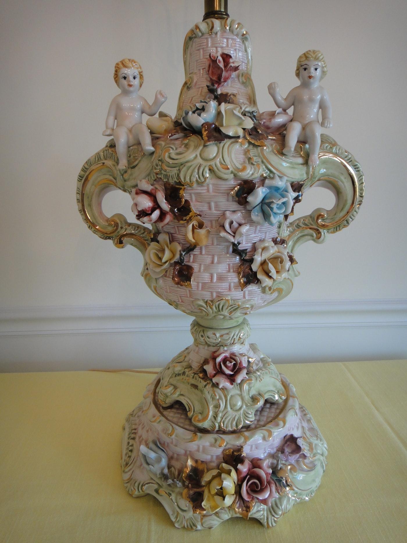 Italian Porcelain Capodimonte Style Cherub Table Lamp Ebth