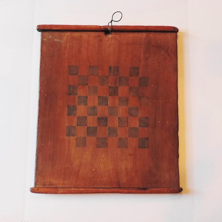vintage wood checkerboard wall art ebth