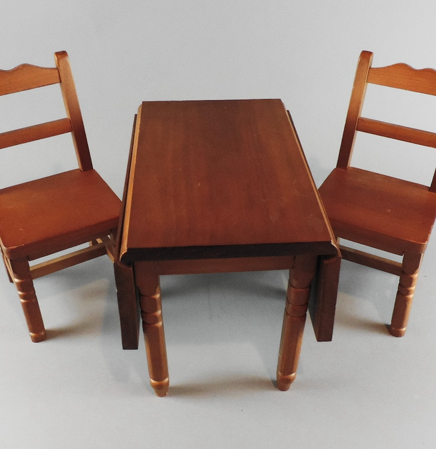 american girl doll drop leaf dining table and chairs ebth. Black Bedroom Furniture Sets. Home Design Ideas