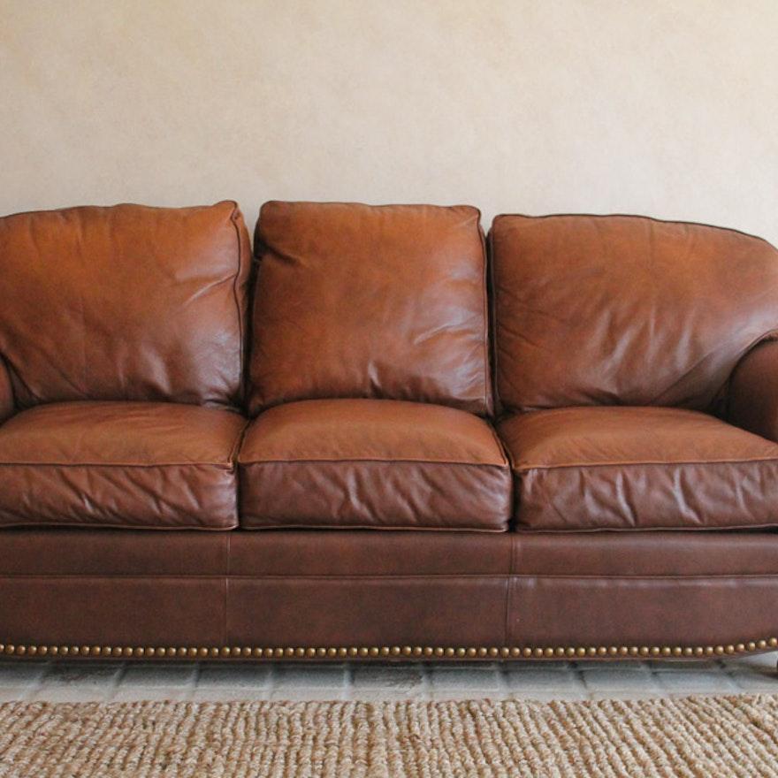 Thomasville Leather Sofa With Nailhead Trim