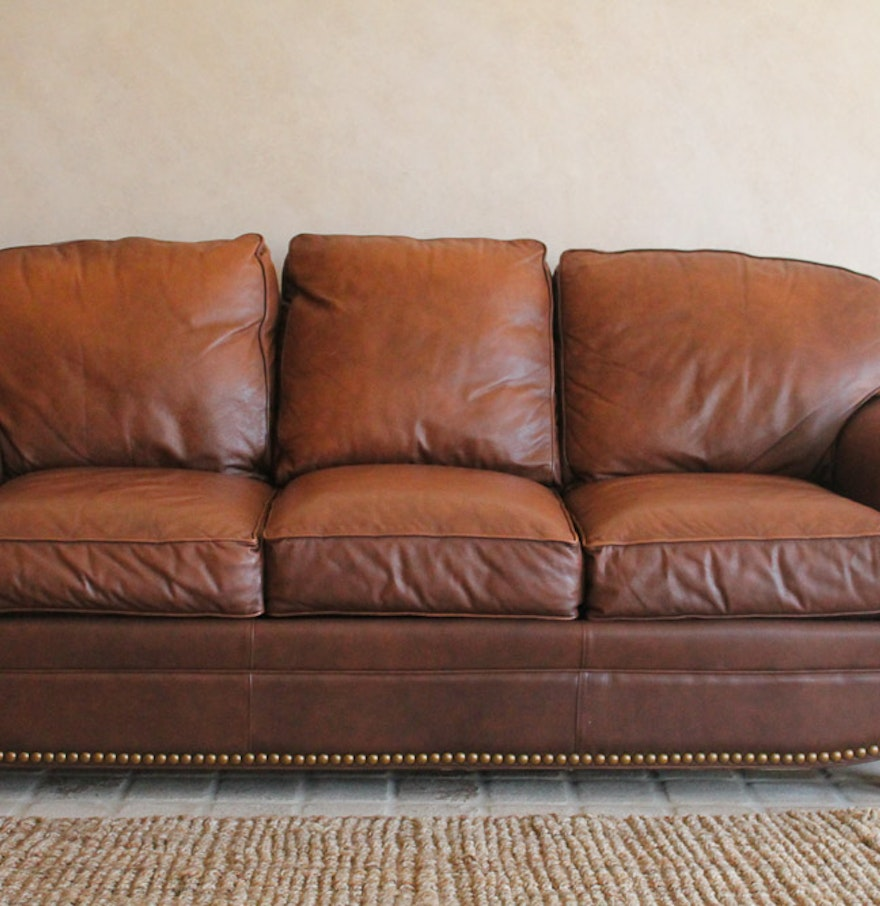 Thomasville Leather Sofa With Nailhead Trim Ebth