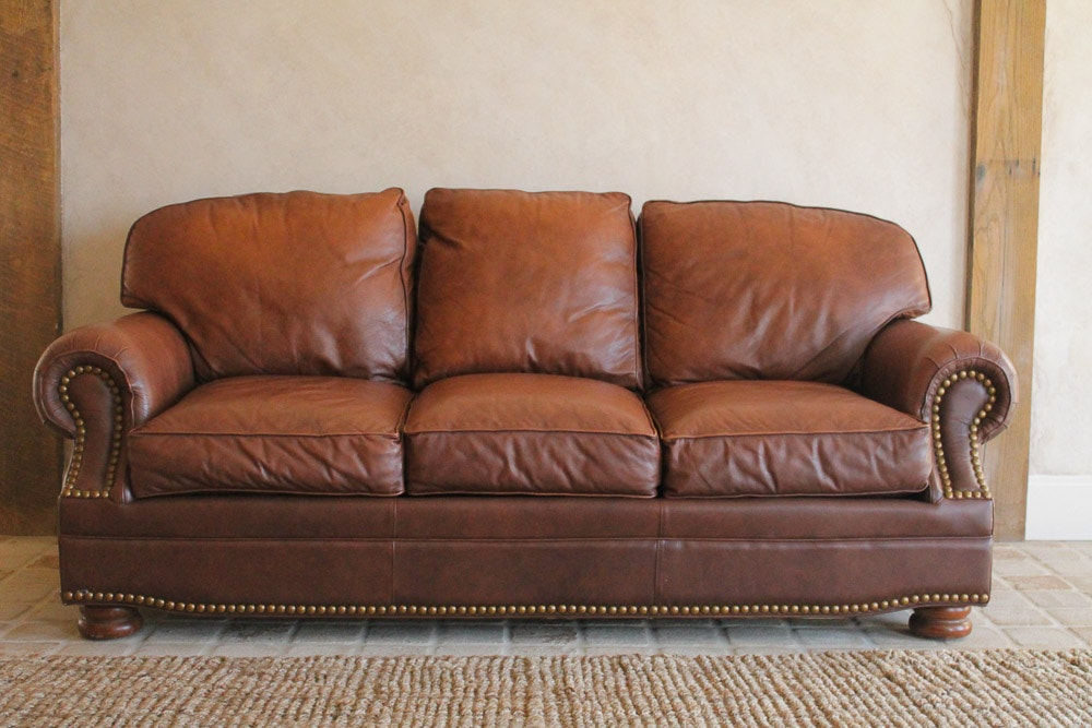 Superb Thomasville Leather Sofa With Nailhead Trim ...