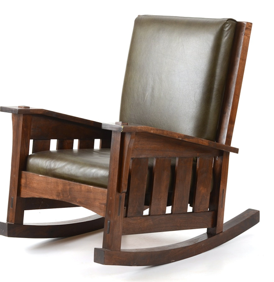 Leather Upholstered Mission Style Rocker : EBTH