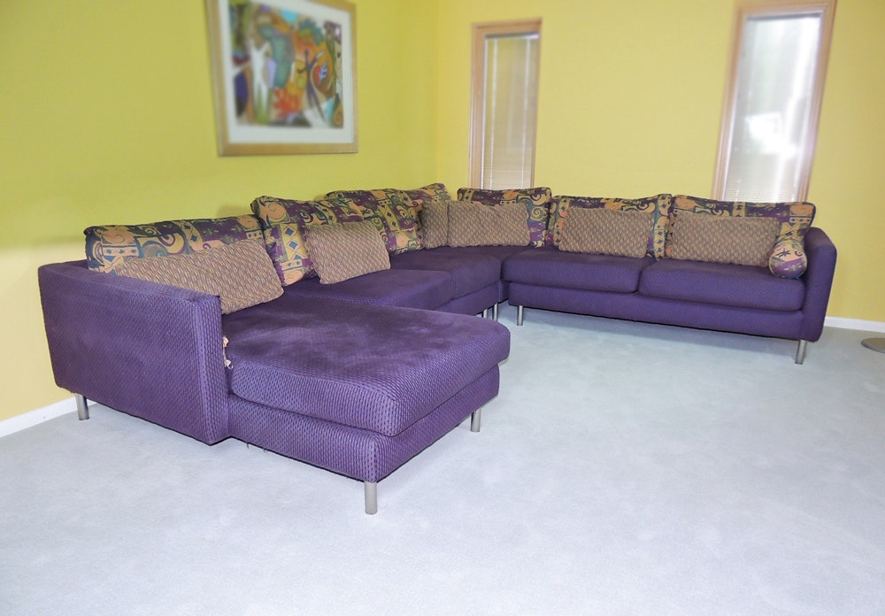 Carter Contemporary Sectional Sofa in Deep Purple EBTH