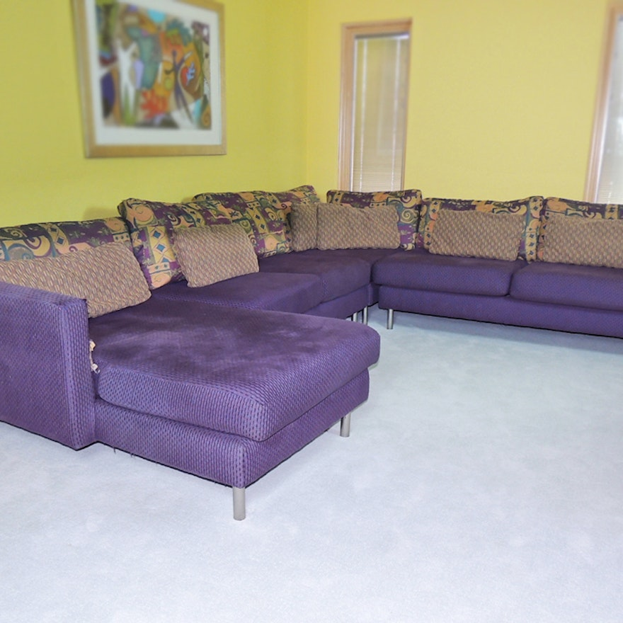 Carter Contemporary Sectional Sofa In Deep Purple : EBTH