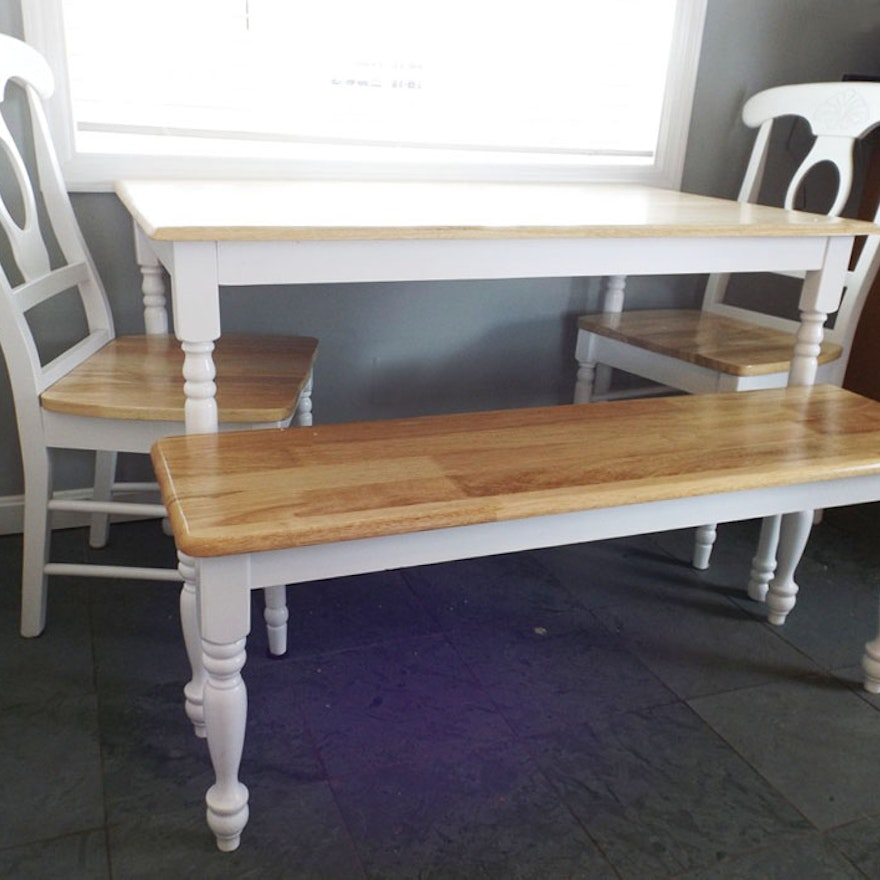 Maple Kitchen Table with Chair and Bench