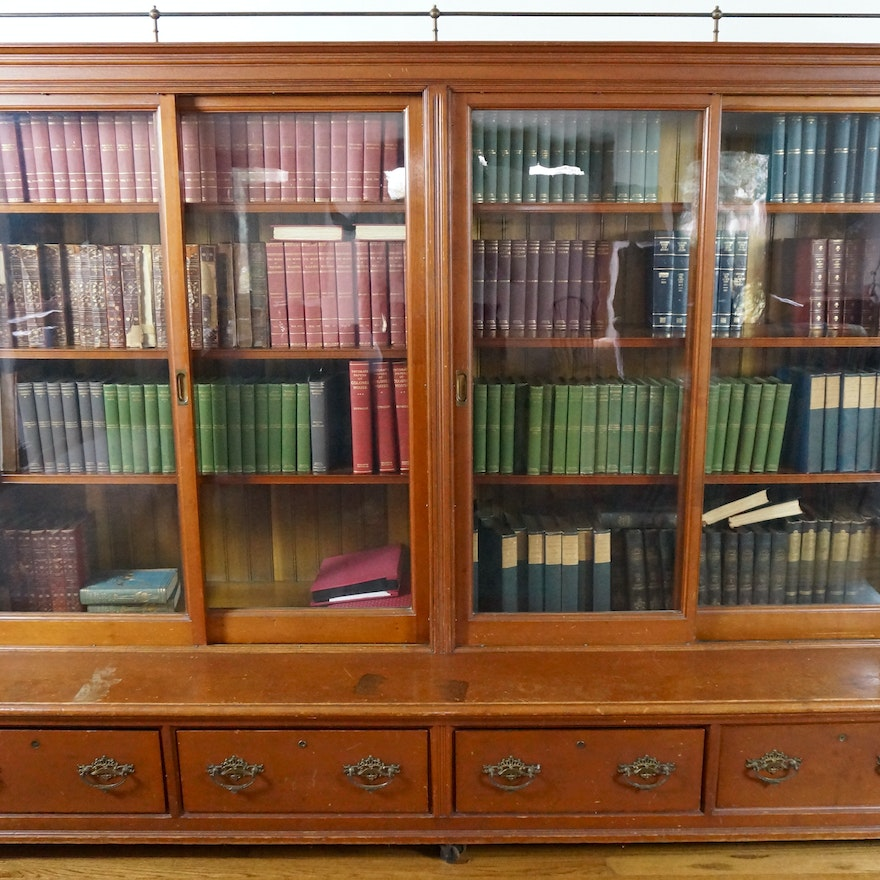 Large Antique Sliding Glass Door Bookcase ... - Large Antique Sliding Glass Door Bookcase : EBTH