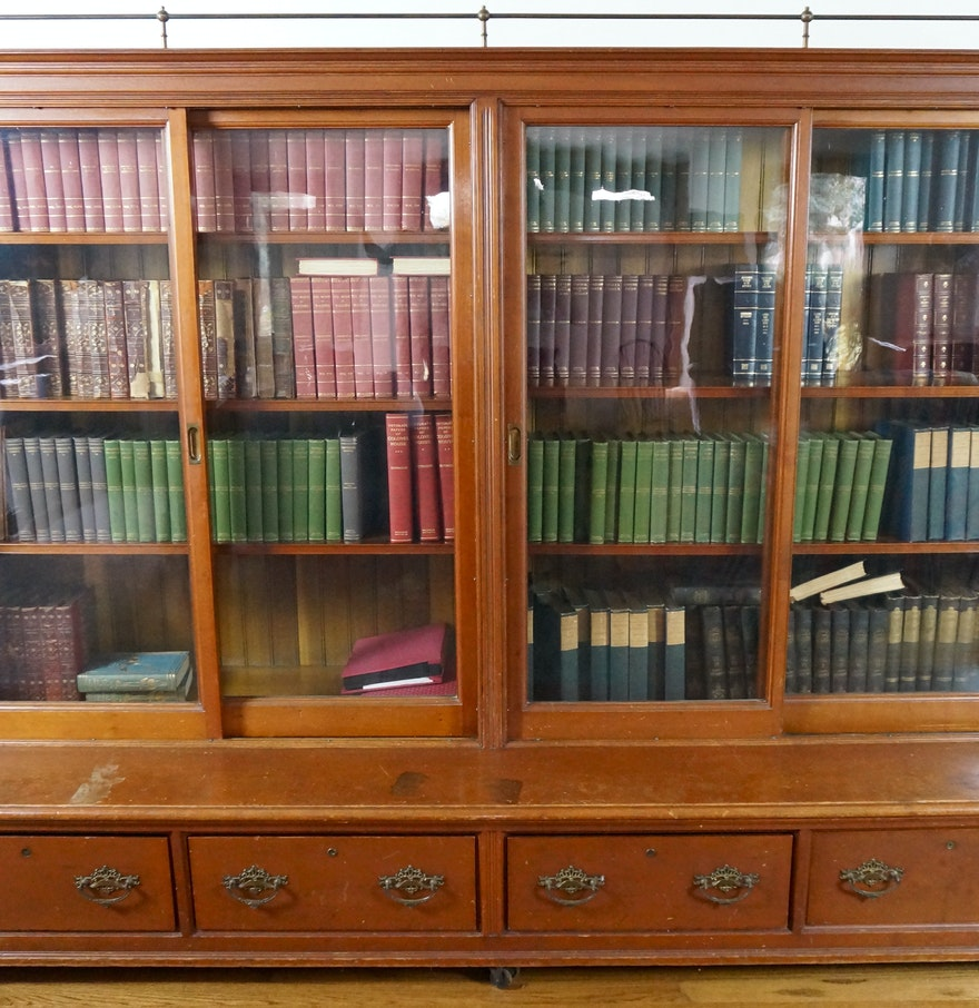 Large antique sliding glass door bookcase ebth for Big sliding glass doors