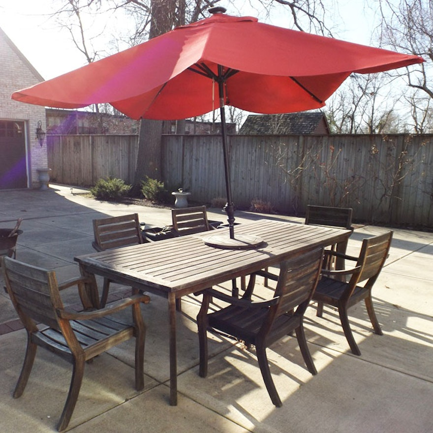 Crate Barrel Outdoor Teak Table And Chair Set With Umbrella