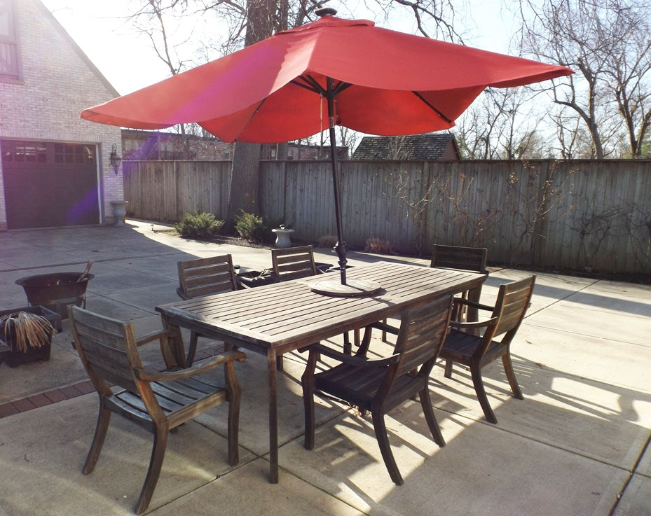 Attirant Crate U0026 Barrel Outdoor Teak Table And Chair Set With Umbrella ...