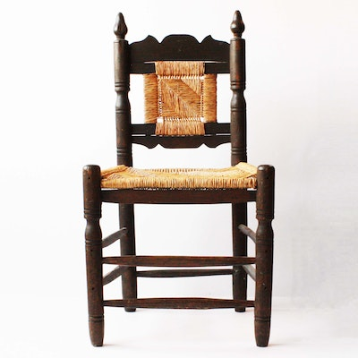 Early American Primitive Antique Wood Chair - Online Furniture Auctions Vintage Furniture Auction Antique