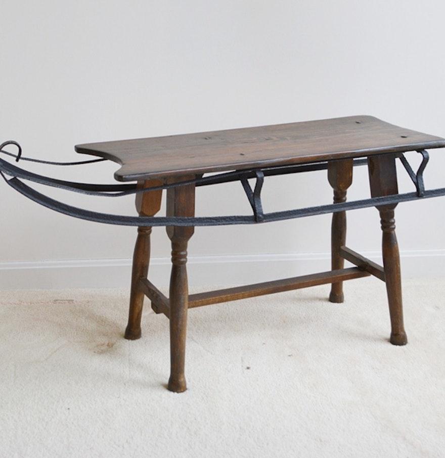 Vintage sleigh top coffee table ebth vintage sleigh top coffee table geotapseo Image collections