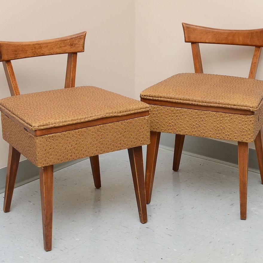 Pair of Vintage Sewing Chairs ... - Pair Of Vintage Sewing Chairs : EBTH
