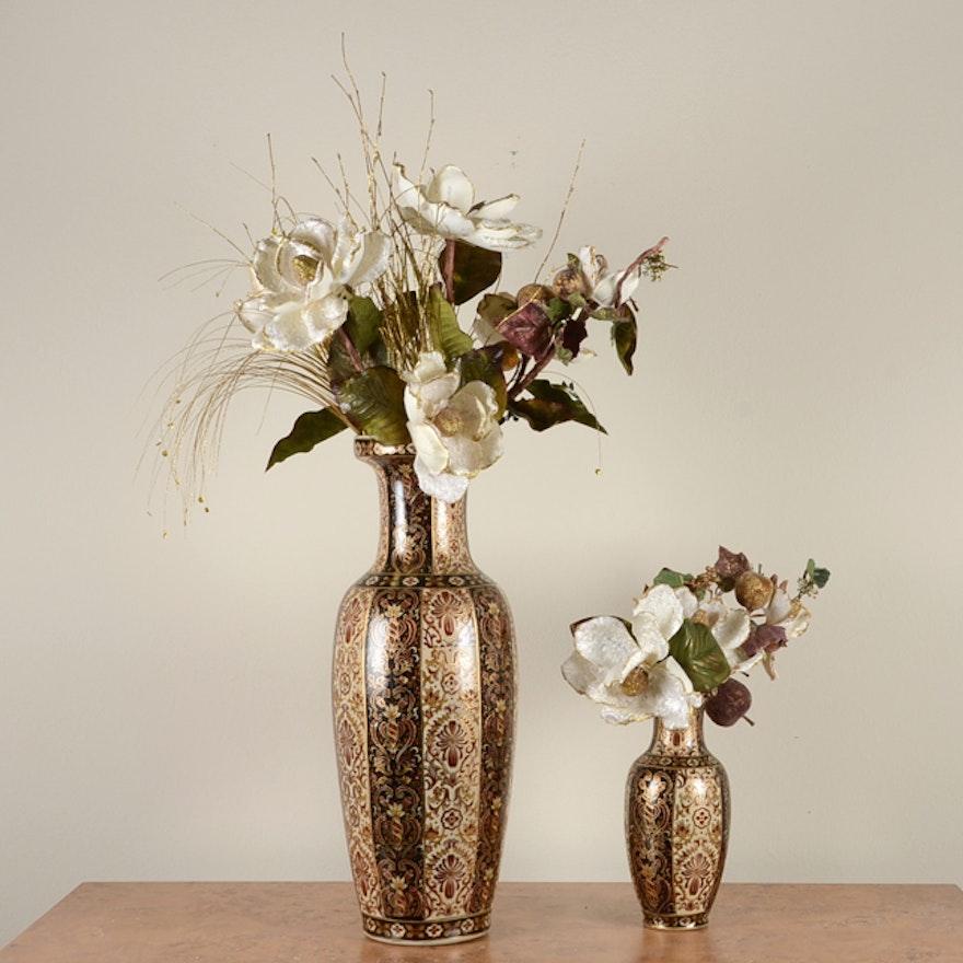 Pair Of Ornate Floor Vases With Artificial Magnolia Flowers Ebth