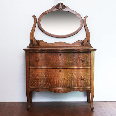 Antique Quarter Sawn Oak Dresser with Oval Mirror - Online Furniture Auctions Vintage Furniture Auction Antique