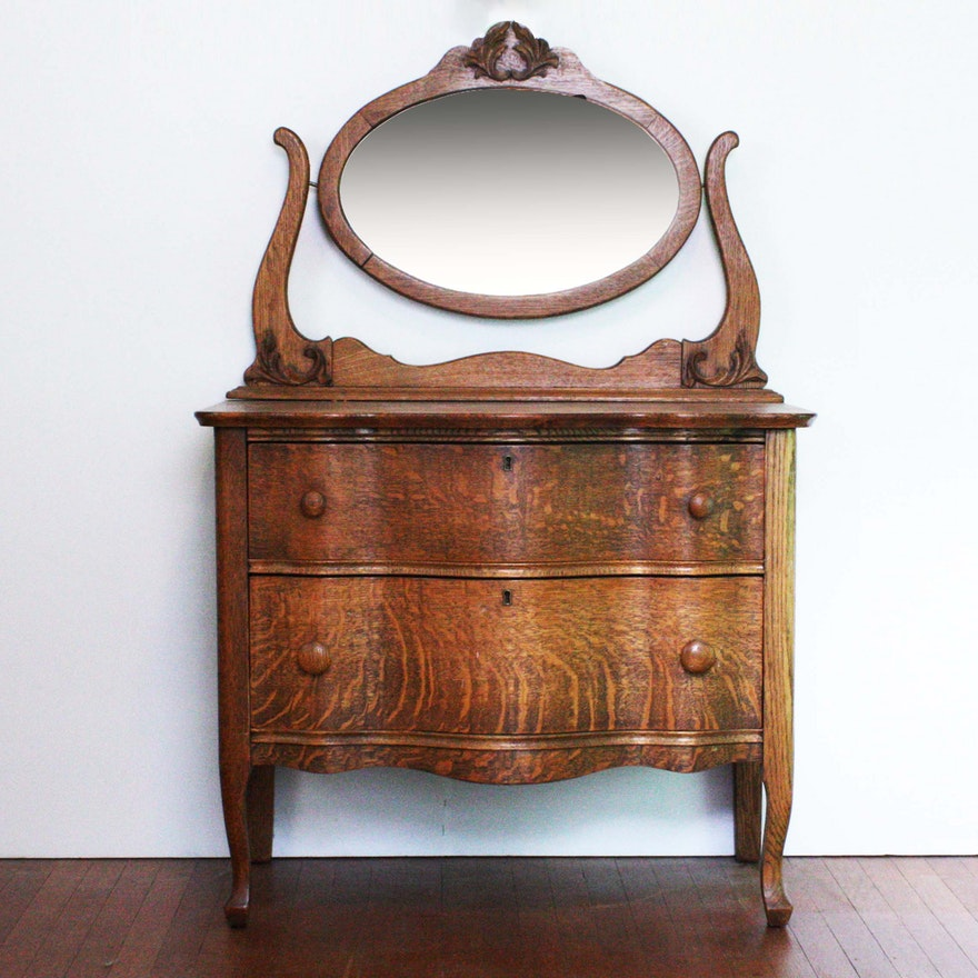 Antique Quarter Sawn Oak Dresser With Oval Mirror