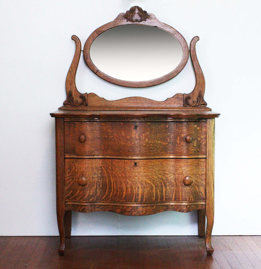 Antique Quarter Sawn Oak Dresser With Oval Mirror Ebth
