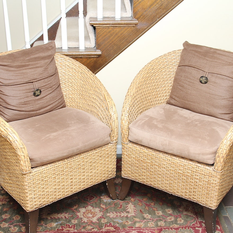 Crate And Barrel Barrel Back Rattan Chairs Ebth