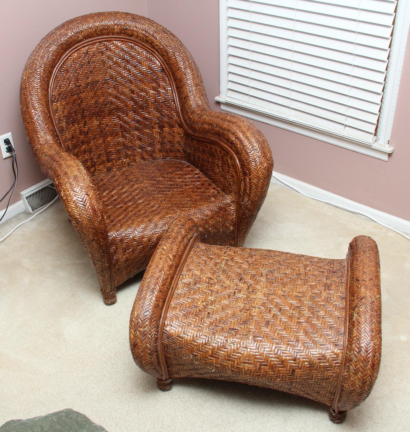 Pottery Barn Rattan Malabar Chair And Ottoman Ebth