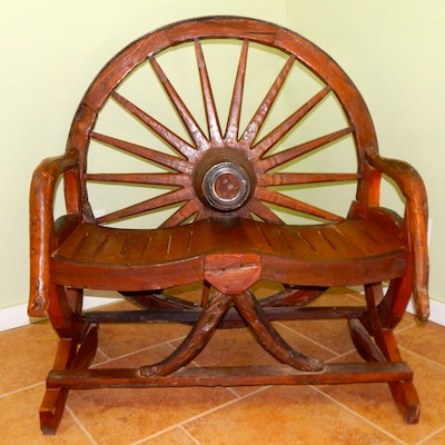 Dakota Wheel Bench - Vintage Chairs, Antique Chairs And Retro Chairs Auction In Atlanta