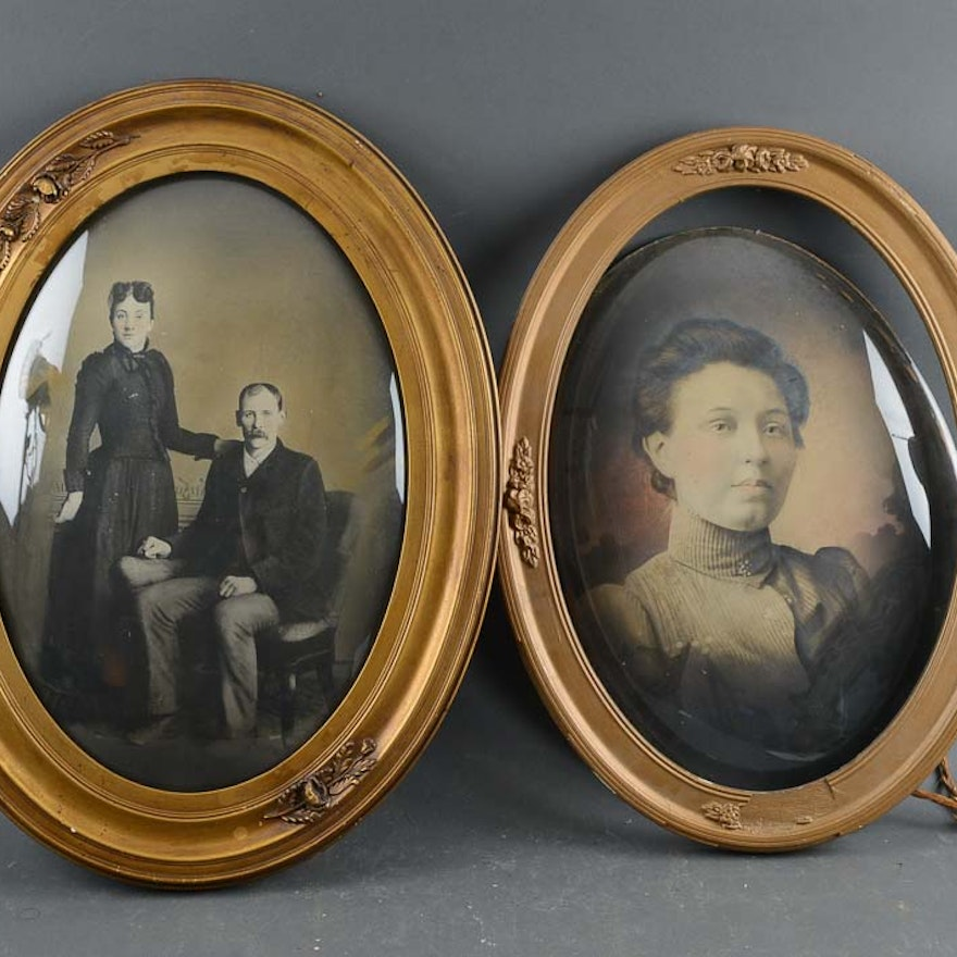 Pair Of Oval Portraits In Bubble Glass Frame Ebth