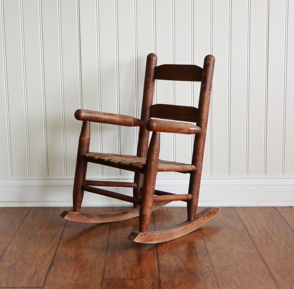 Childu0027s Primitive Solid Wood Rocking Chair ...