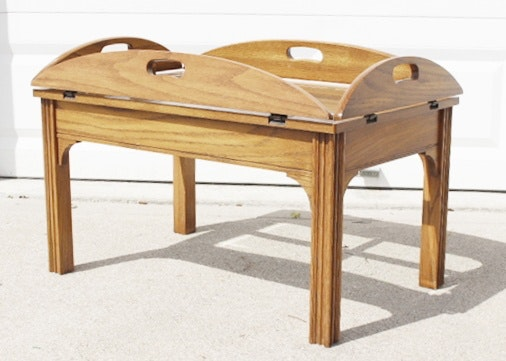 Oak Butleru0027s Coffee Table With Folding Sides And Glass ...
