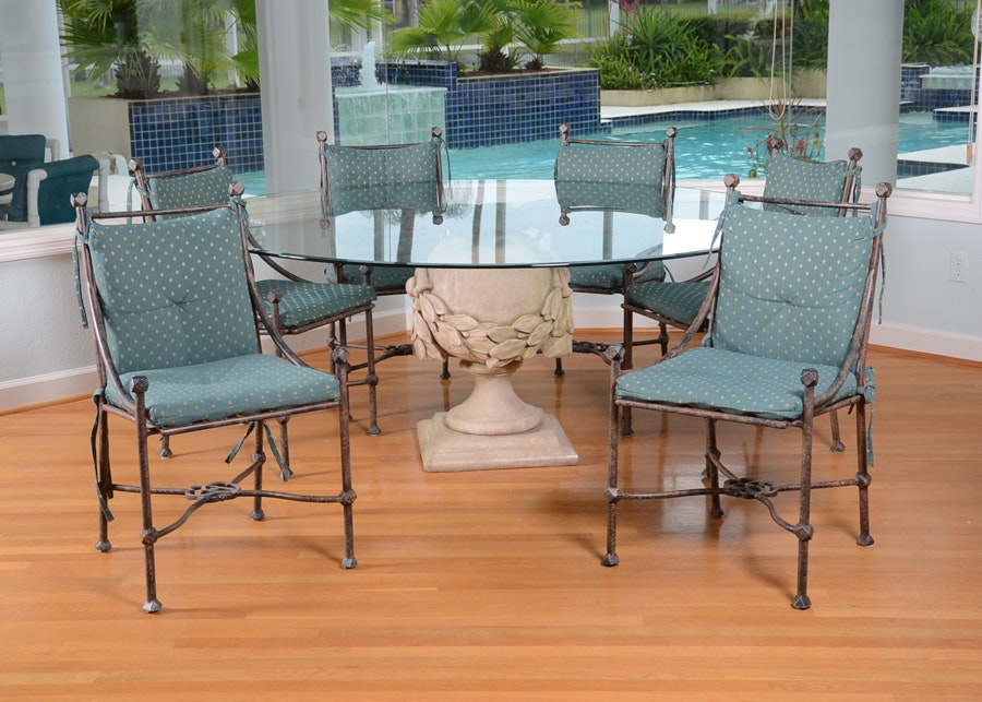 Urn Pedestal Glass Top Dining Table And Chairs ...