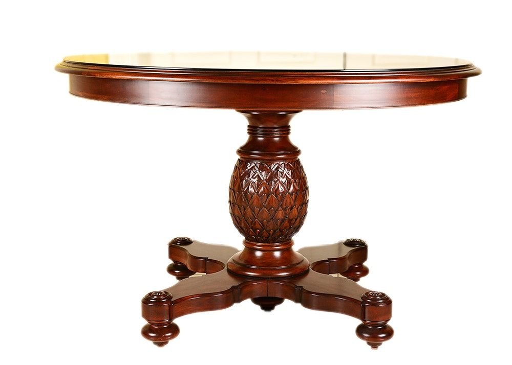 Glass Top Mahogany Veneer Ethan Allen Round Entry Table ...