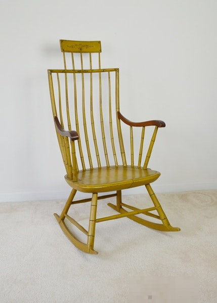 Antique Windsor Style Ocher Yellow Rocking Chair Circa 1850 ...  sc 1 st  EBTH.com : antique windsor chair - Cheerinfomania.Com