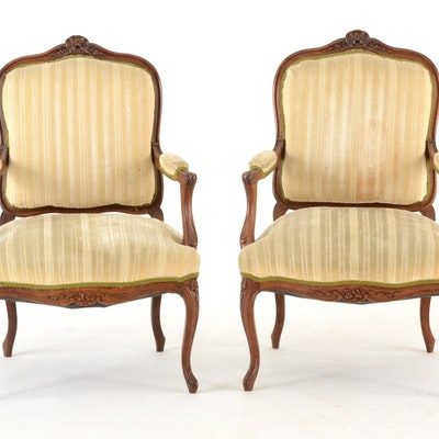 Pair of Louis XV Style Fauteuils - Cincinnati, Ohio Antiques & Collectibles Sale (15CIN110) : EBTH