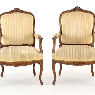 Pair of Louis XV Style Fauteuils - Online Furniture Auctions Vintage Furniture Auction Antique