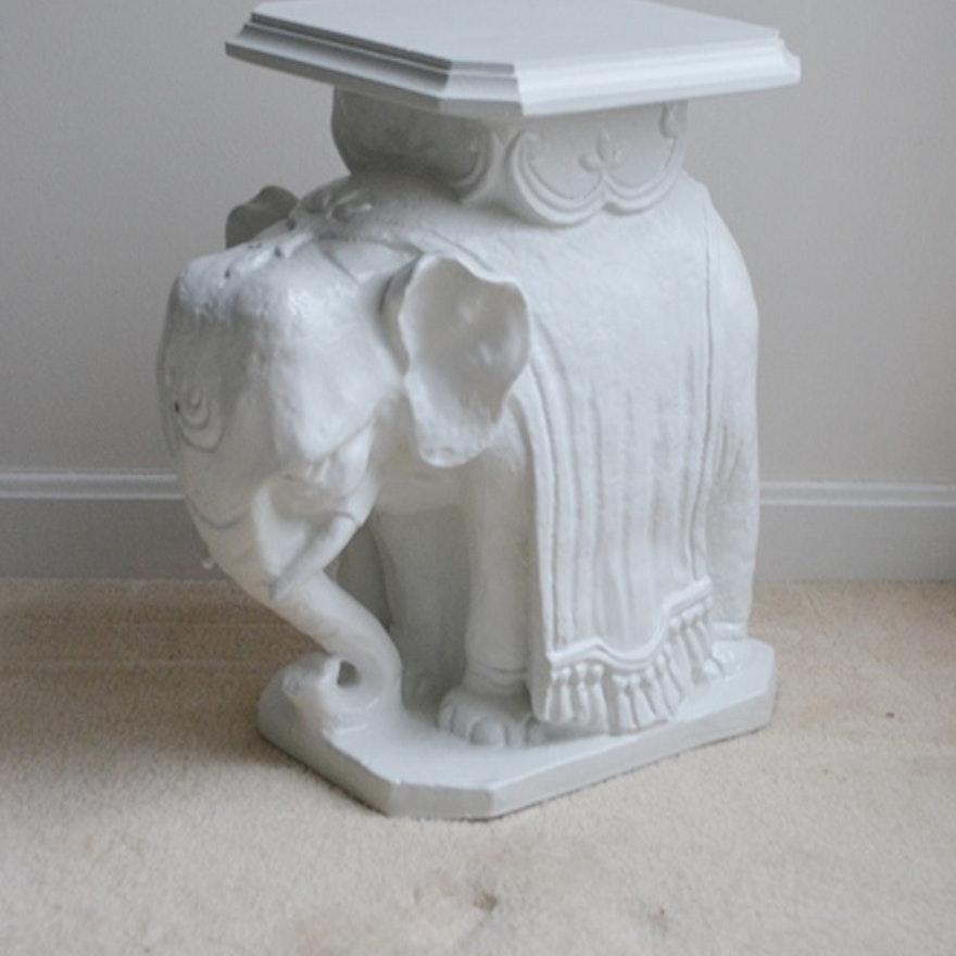 Cast White Elephant Plant Stand