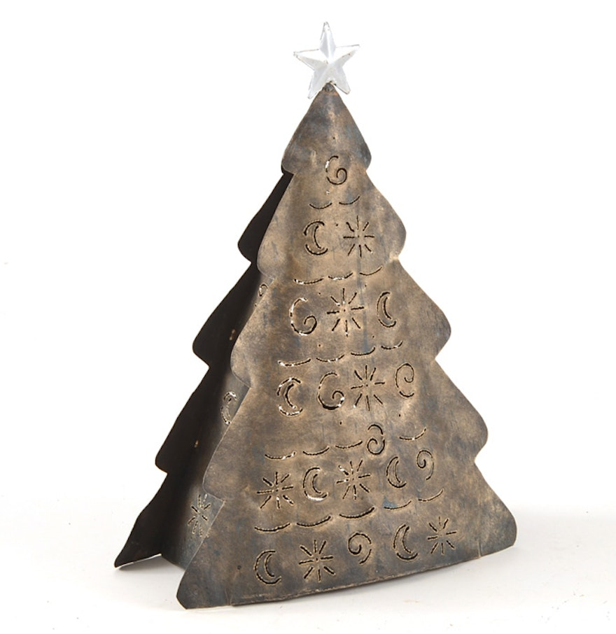 Hummel christmas tree ornaments - Large Metal Christmas Tree With Cut Out Design