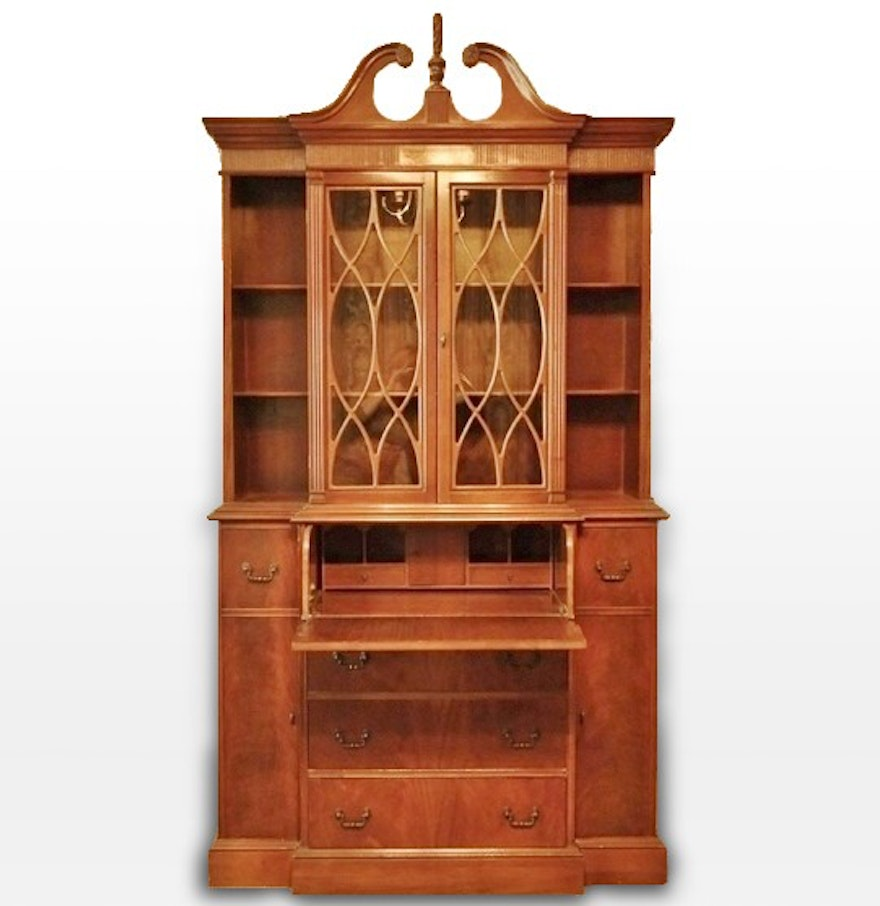 Chippendale China Cabinet Chippendale Style Walnut Breakfront China Cabinet And Secretary Ebth