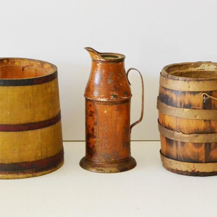 Wooden Sugar Firkin Dairy Bucket And Milk Pitcher