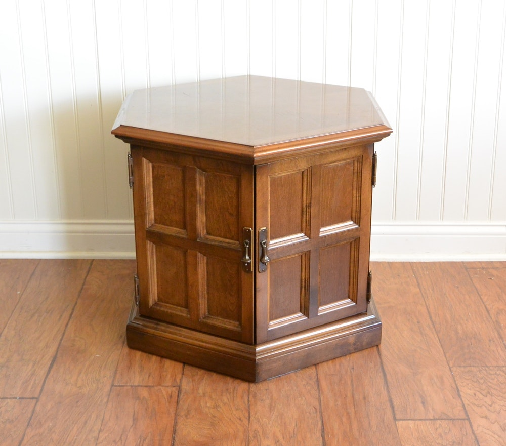 Handsome Ethan Allen End Table With Doors ...