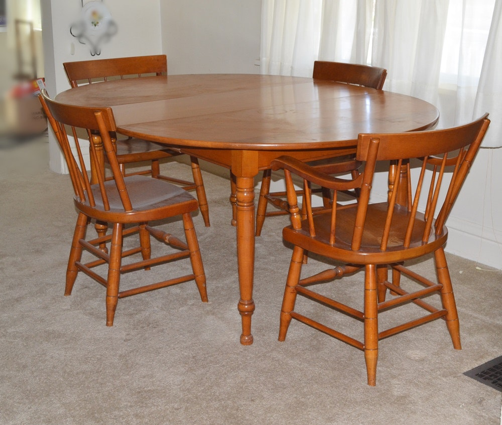 """Maple Kitchen Table With Chair And Bench Ebth: 1950s """"Lancaster County"""" Maple Table And Chairs Willett"""