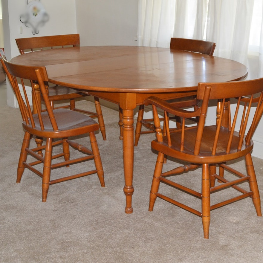 1950s Lancaster County Maple Table And Chairs Willett Furniture EBTH