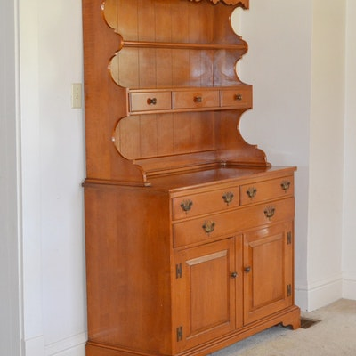 1950s Lancaster County Maple China Hutch By Willett Furniture
