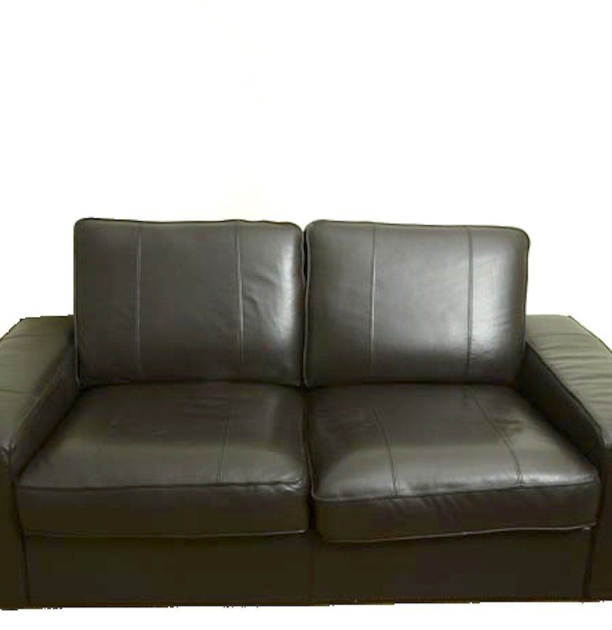 Black Leather Kivik Ikea Sofa Ebth
