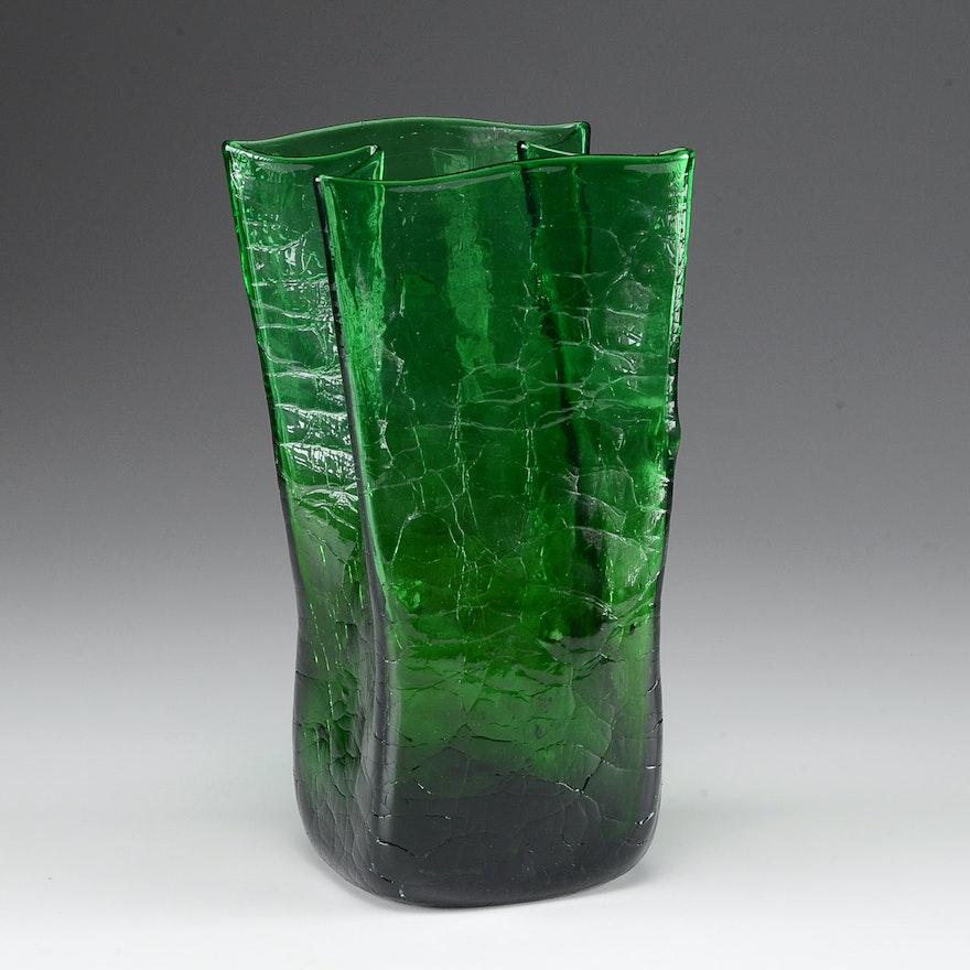 Blenko Crackle Glass Vase In Green Ebth