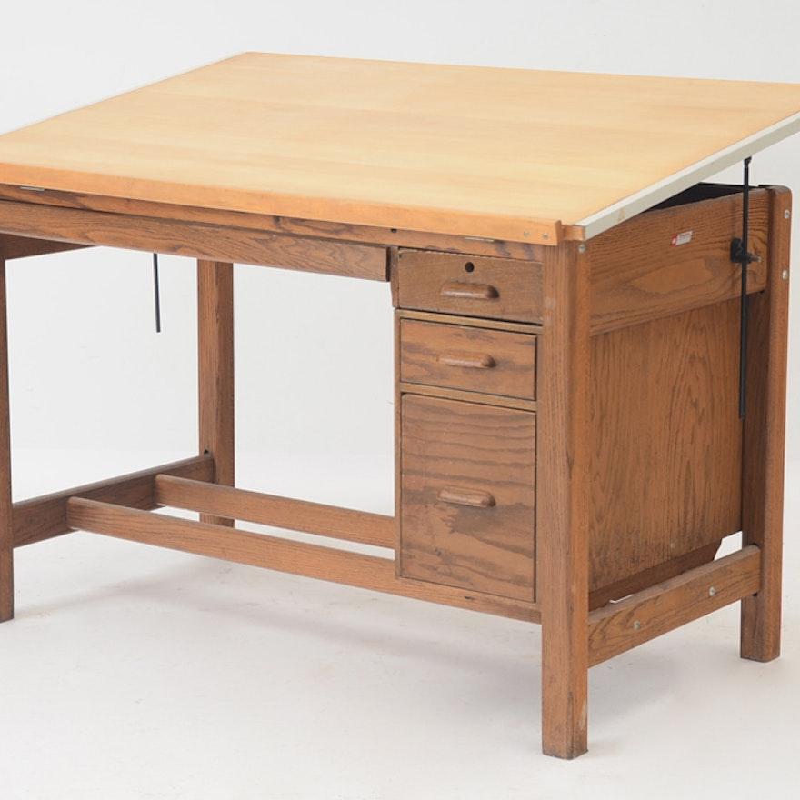Oak Drafting Table Ebth