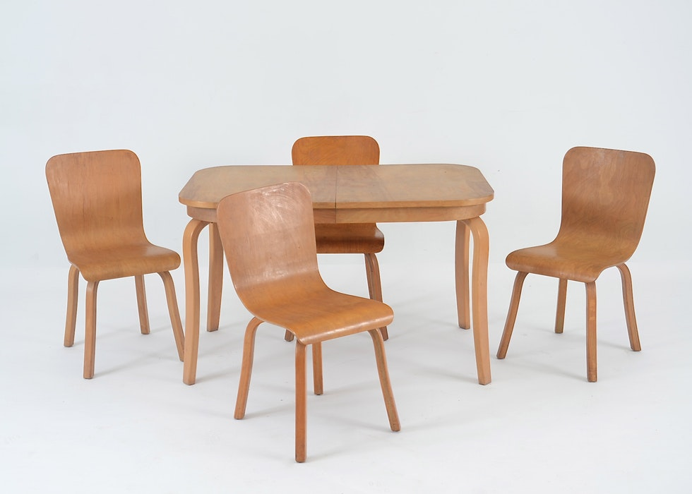 Maple Kitchen Table With Chair And Bench Ebth: Mid Century Modern Maple Dining Table And Chairs : EBTH