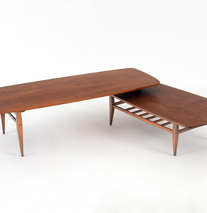 mid century lane swivel base coffee table ebth. Black Bedroom Furniture Sets. Home Design Ideas