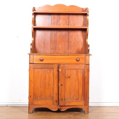 Primitive Pine Cupboard With Shelves - Online Furniture Auctions Vintage Furniture Auction Antique