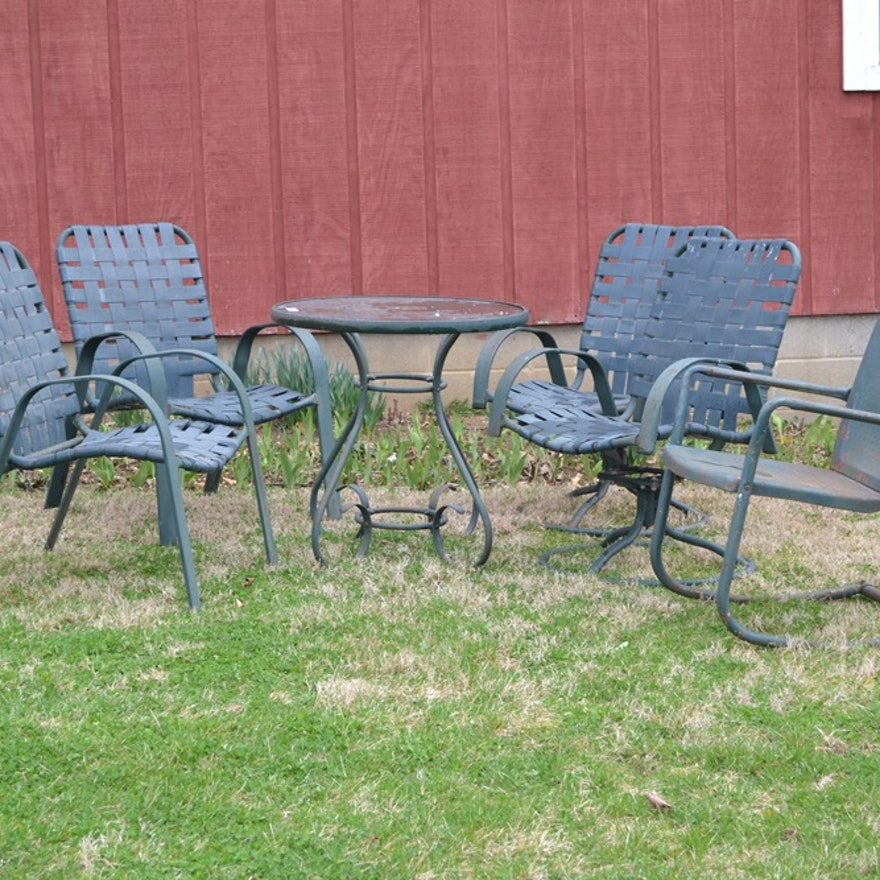 Wrought Iron Patio Table And Five Chairs Ebth