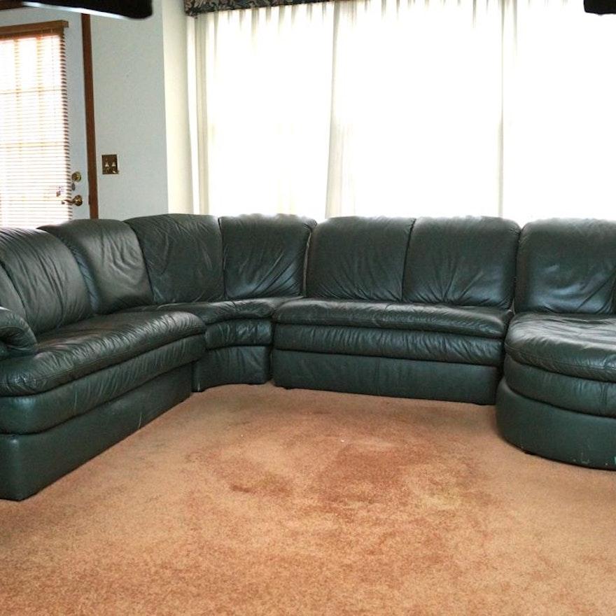 Italian Made Green Leather Sectional Sofa